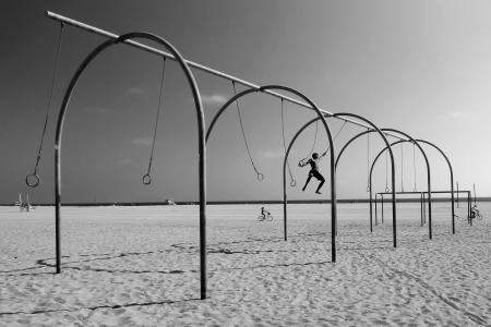 Swinging on Santa Monica Beach