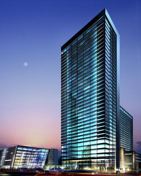 Tall glass building