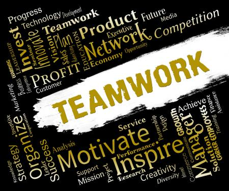 Teamwork Words Indicates Teams Networking And Cooperation