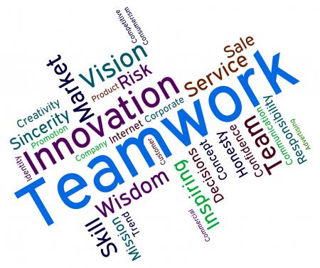 Teamwork Words Shows Text Organized And Networking