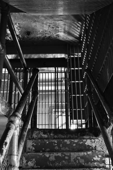 The staircase leading to the prison room