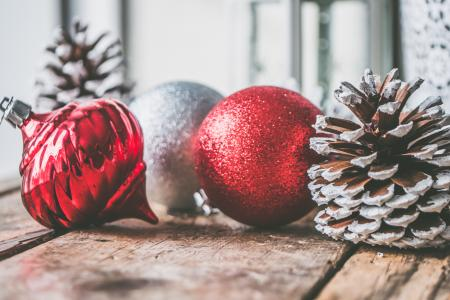 Three Red and Gray Bauble Ornaments