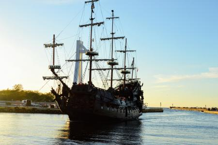 Tourist old sailing ship Galleon enters the harbor