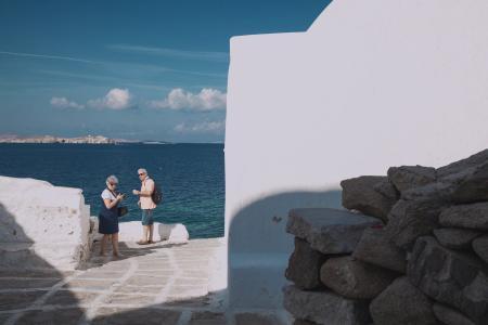 tourists by the sea
