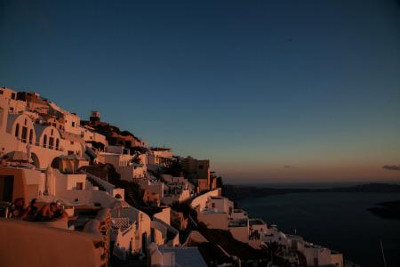 town on the mountain at sunset time
