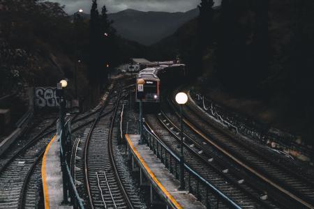 Train on Railways during Nighttime