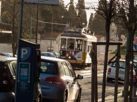 Tram under evening sun