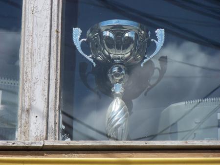 Trophy in window