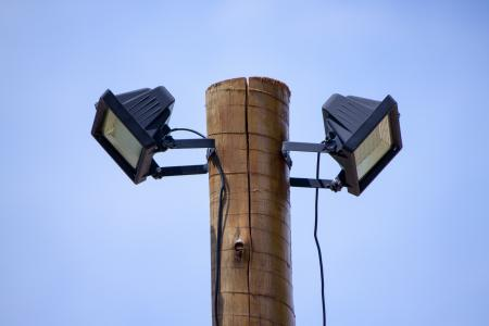 Two solar powered LED spotlights