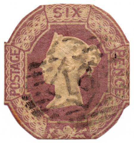 Violet Embossed Queen Victoria Stamp