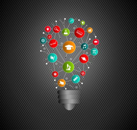 Virtual Lightbulb with Education and Learning Icons
