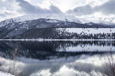Wallowa Lake reflection in winter, Oregon .
