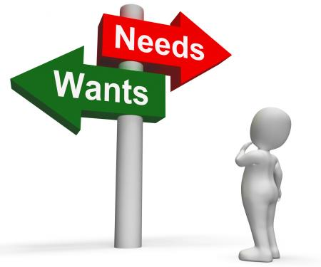 Wants Needs Signpost Shows Materialism Want Need