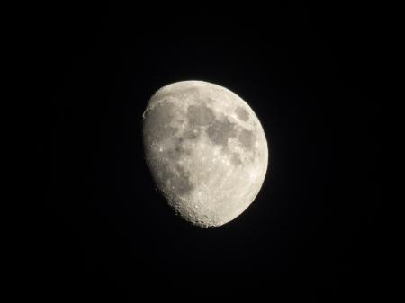 Waxing Gibbous Moon with Black Background