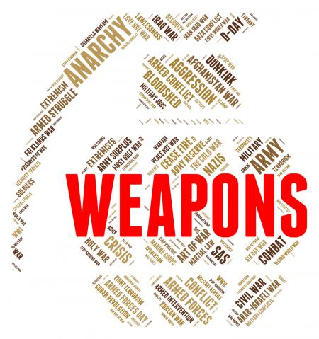 Weapons Word Represents Armory Armed And Arms