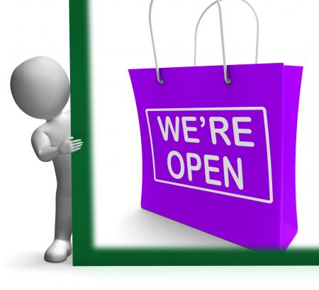 Were Open Shopping Bag Sign Shows New Store Launch
