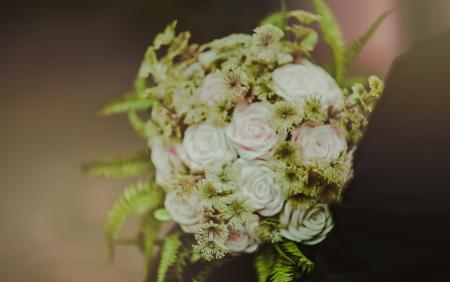 White and Pink Rose Flowers Bouquet
