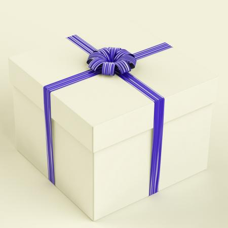 White Gift Box With Blue Ribbon As Birthday Present For Man