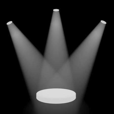 White Spotlights Shining On A Small Stage With Black Background