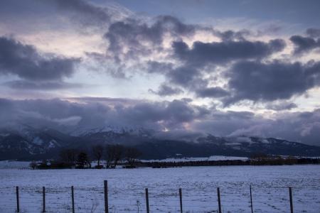 Winter sunset in the Wallowa mountains.