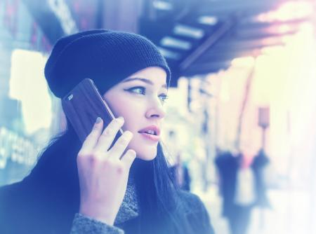 Woman Talking Through Smartphone