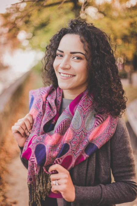 Woman Wearing Pink Infinity Scarf