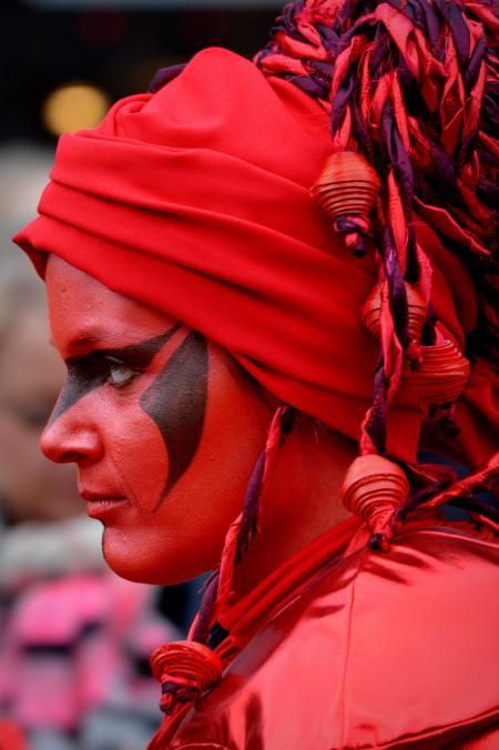 Woman Wearing Red and Purple Head Wrap