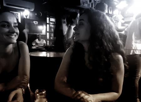 Women at a Bar Talking and Smiling - Retro - Dark Fuzzy Looks