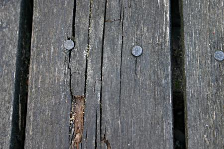 Wood plank with nails