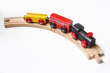 Wooden toy train with wagons