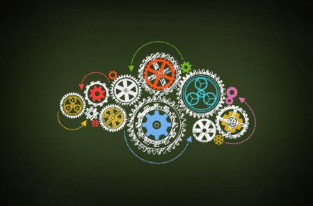 Working - Concept of Work with Cogwheels on Blackboard