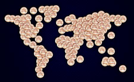 World map made of US cent coins