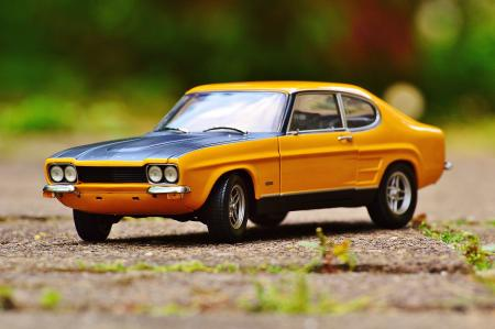 Yellow and Black Muscle Car in Tilt Shift Photography
