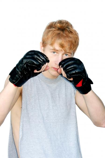 Young man ready to fight