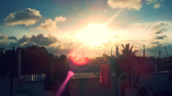 A bright sunny evening