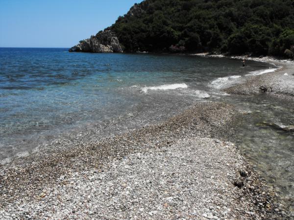 A small stream flows into sea