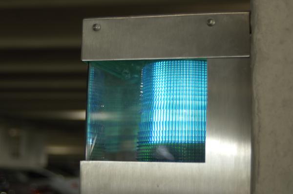 Blue light in metal case