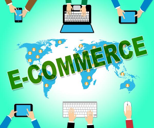 Ecommerce Online Represents Web Site And Commercial