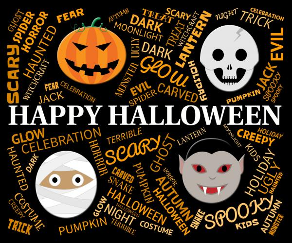 Happy Halloween Shows Trick Or Treat And Haunted