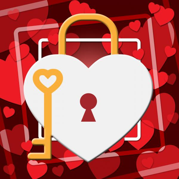 Hearts Lock Indicates In Love And Adoration