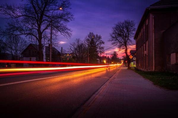 Krzeszowice by night long exposure photo, Poland