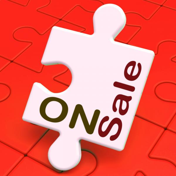 On Sale Puzzle Shows Reduction Savings Or Discounts