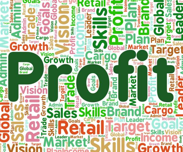 Profit Word Means Earns Profits And Wordcloud