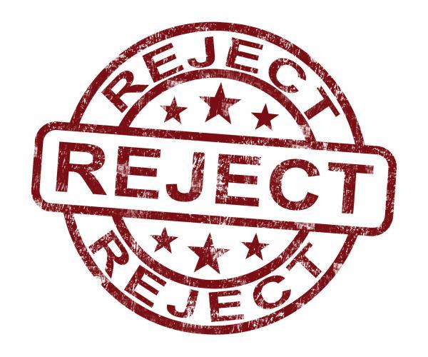 Reject Stamp Shows Rejection Denied Or Refusal