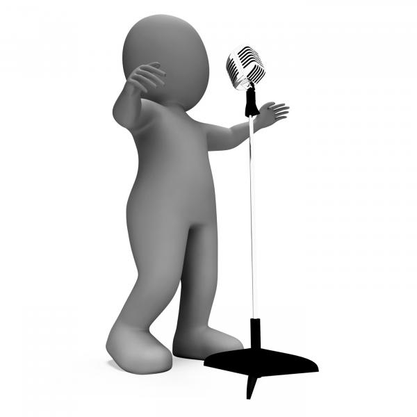 Singer Shows Music Or Karaoke Microphone Concert